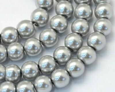 Filo di perle in vetro Grigio chiaro 8 mm