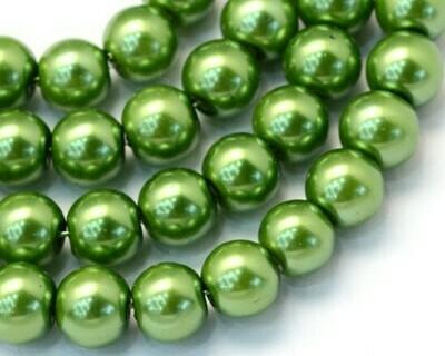 Filo di Perle in vetro Verde erba 8 mm