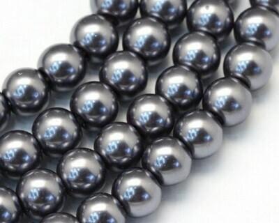Filo di Perle in vetro Grigio scuro 8 mm