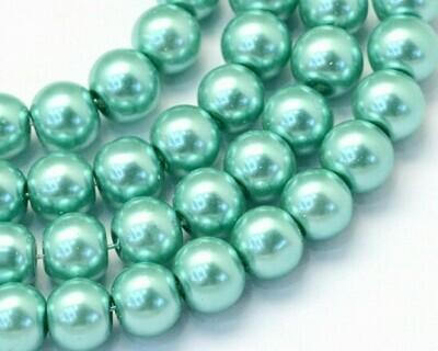 Filo di Perle in vetro Verde Acqua 8 mm