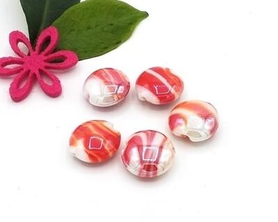 Perle in vetro Lente Melange 15 mm-5 pz