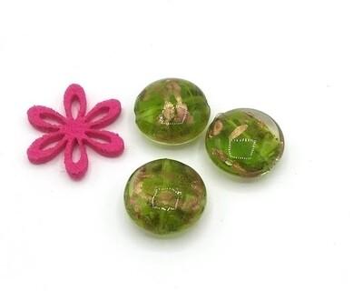 Perle in vetro Lente Cristallo Verde 20 mm-4 Pz