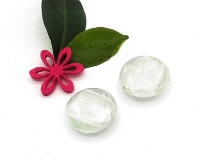 Perle in vetro Lente piatta Argento 24 mm-2pz