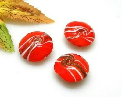 Perle in vetro Lente piatta Rosso pastello 20 mm-4pz