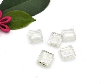 Perle in vetro Quadrato piatto Silver 12 mm 5 Pz