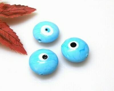 Perle in vetro Lente piatta Turchese pastello 20 mm-4 pz