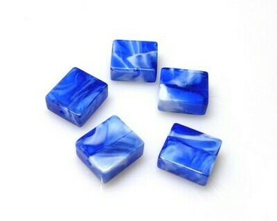 Perle in vetro Rettangolo Blu 16x14 mm-4 pz