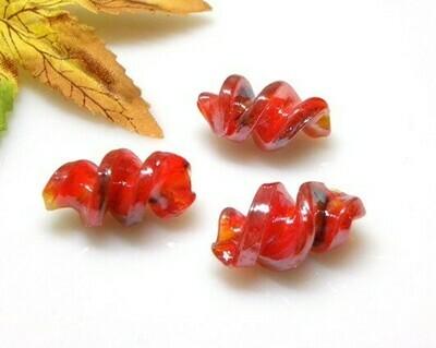 Perle in vetro Fusillo Rosso 28x16 mm-2 pz