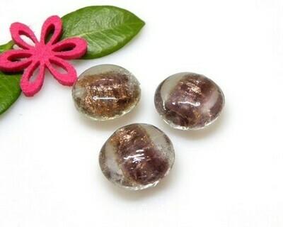 Perle in vetro Lente Ametista 20x10 mm-4 Pz