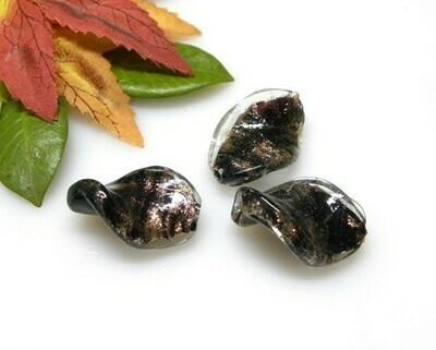 Perle in vetro Elica Nero  28x18 mm-2 pz