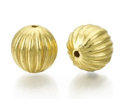 Perline tonde ondulate oro 12 mm