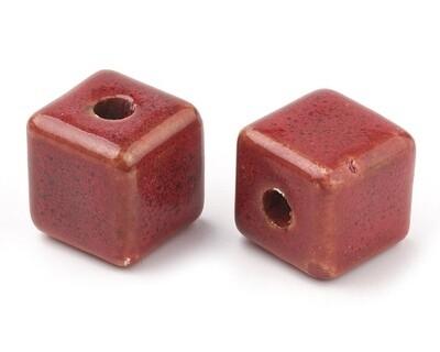 Perle in ceramica cubo rosso 15 mm