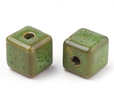 Perle in ceramica cubo verde 15 mm