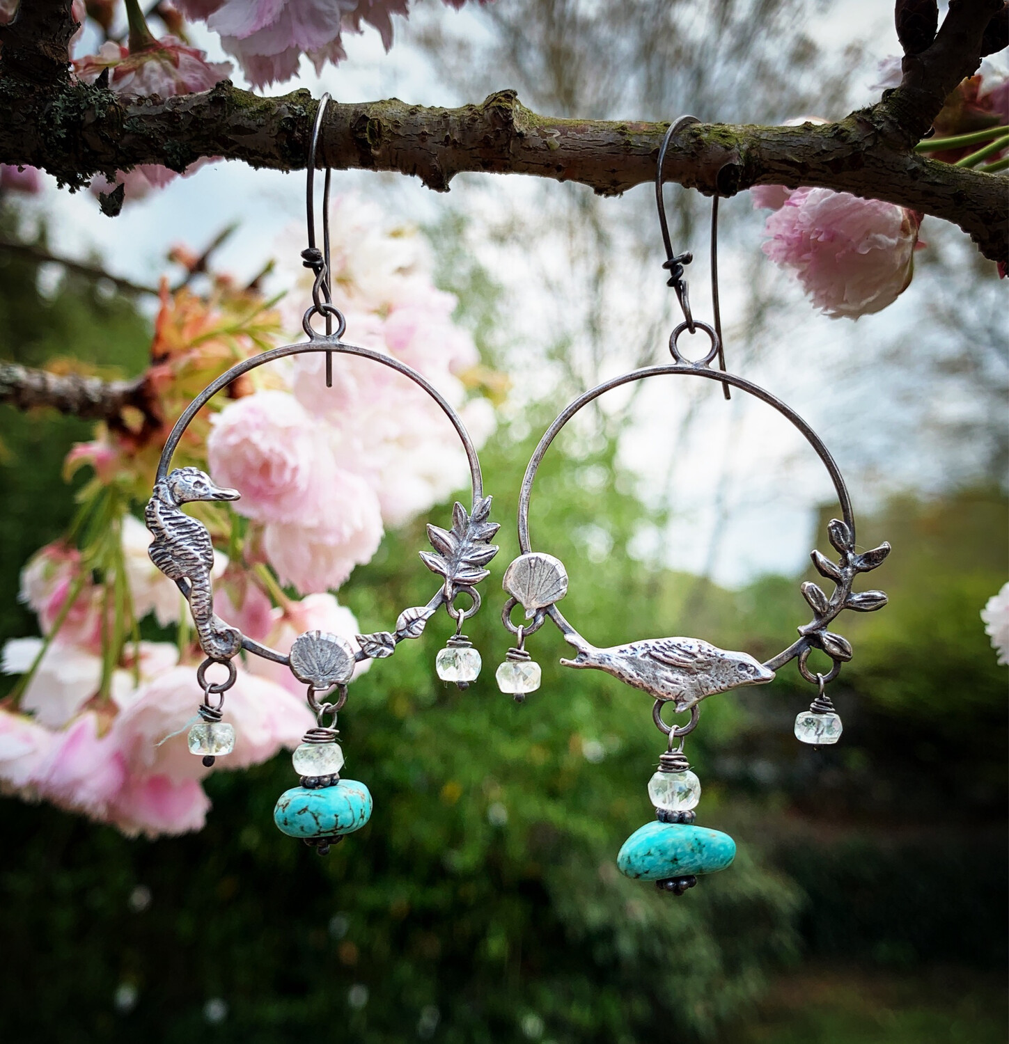 Seal And Seahorse Hoop Earrings With Turquoise And Aquamarine