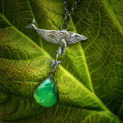 Whale Pendant With Chrysoprase