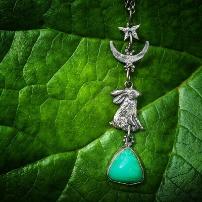 Hare, Moon and Star Pendant with Chrysophrase