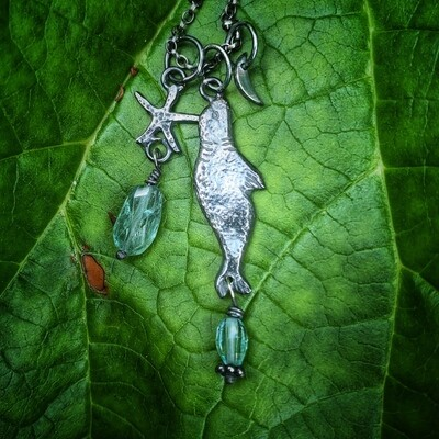 Tiny Seal, Starfish and Moon Totem Pendant with blue Topaz & Apatite