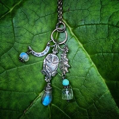 Owl, Oak Leaf and Moon Totem pendant with Turquoise, Moonstone, Aquamarine and Labradorite