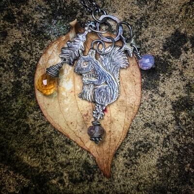 Squirrel, Oak leaf and Star Totem Pendant with Iolite, Citrine and lavender Jade