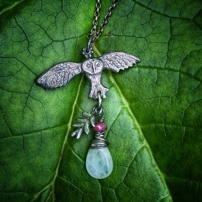 Owl and Leaf pendant with Ruby and Moonstone