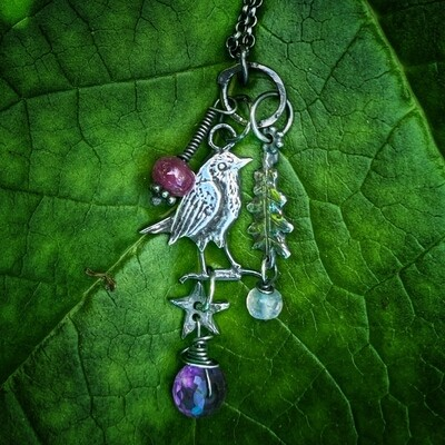Robin, Star and Oak Leaf Totem Pendant With Amethyst, Ruby and lavender Jade