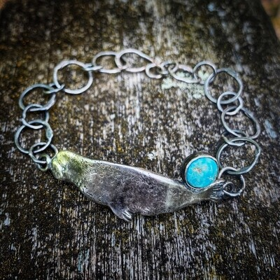 Seal Bracelet with Cornish Turquoise