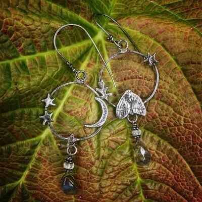 Moth, Moon, Star and Leaf Hoop Earrings with Labradorite and Moonstone