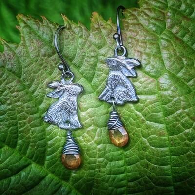 Hare earrings with golden topaz