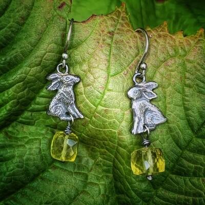 Hare earrings with Lemon Quartz