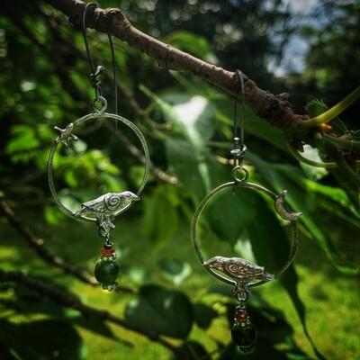 Crow hoop earrings with garnet and jet