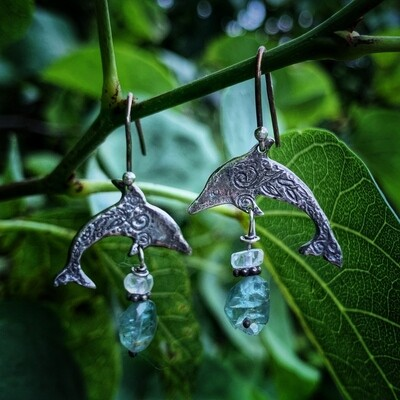 Dolphin Earrings With Natural Apatite And Moonstone