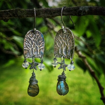 Tumuli trees earrings with labradorite and lilac jade