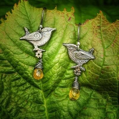 Wren earrings with citrine