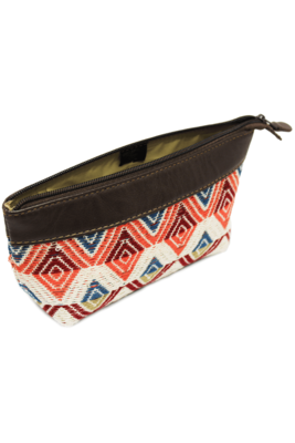 Leather & Handwoven Textiles Cosmetic Bag