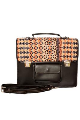 Leather Textil Pink Rhombus Briefcase
