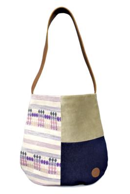Velvet, Denim & Lila Textile Shoulder Bag
