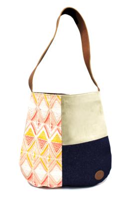 Velvet, Denim & Peach Textile Shoulder Bag
