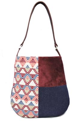 Velvet, Denim & Blue Burgundy Textile Shoulder Bag