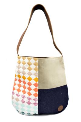 Velvet, Denim & Rainbow Textile Shoulder Bag