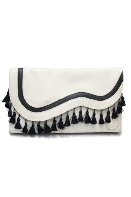 Bone-tinted Leather & Velvet Clutch Bag