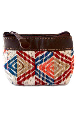 Leather and Handwoven Guatemalan Textile Coin Pouches