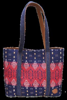 Denim, Leather, & Red Blue Textile Shoulder Bag