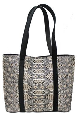Velvet, Leather, & Ophidian Textile Shoulder Bag