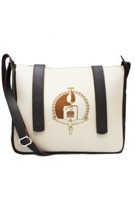 Maya Nahualt Brown Velvet & Leather Messenger Bag