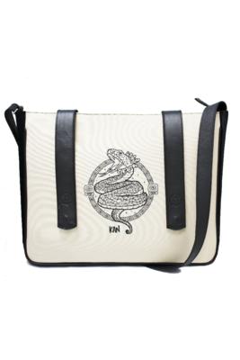 Maya Nahualt Black Velvet & Leather Messenger Bag