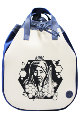 Maya Nahualt Navy Velvet & Leather Backpack