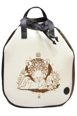 Maya Nahualt Brown Velvet & Leather Backpack