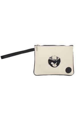 Maya Nahualt Black Velvet & Leather Wristlet Bag