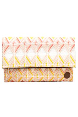 Leather & Peach Textile Oversize Clutch Bag