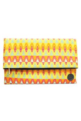 Leather & Trópico Textile Oversize Clutch Bag